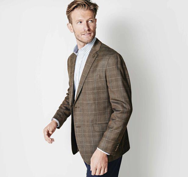 Lightweight Wool Plaid Blazer