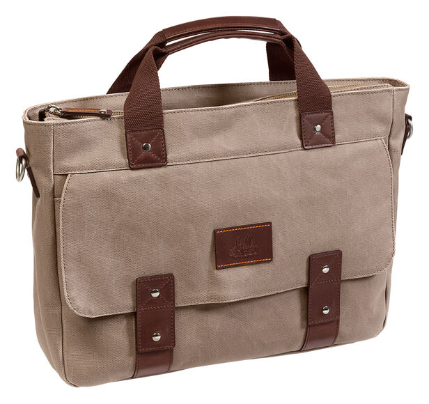 Est. 1850 Canvas Zip-Top Laptop Briefcase