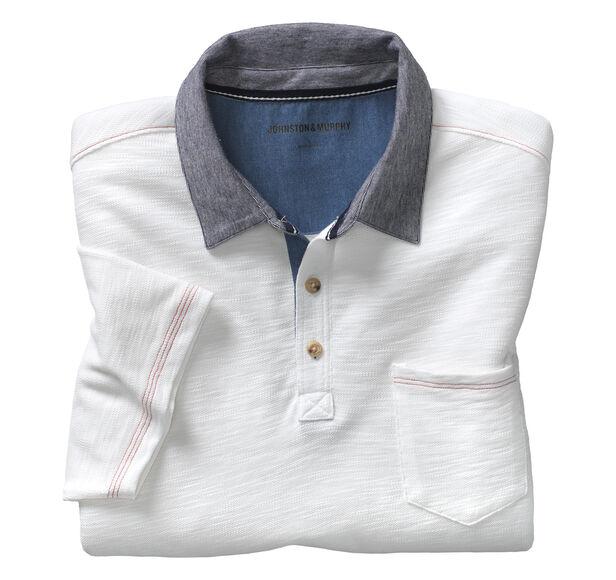 Stripe-Collar Polo