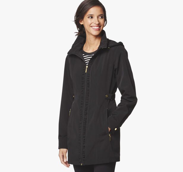 Ruched-Detail Hooded Jacket