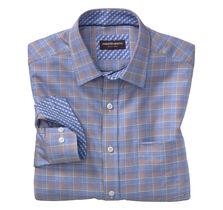 Zigzag-Ground Windowpane Point- Collar Shirt