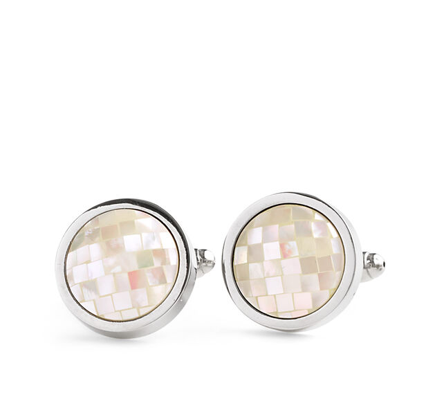 Faceted Mother-of-Pearl Circle Cufflinks