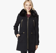 Hooded Wool Coat with Fur Collar