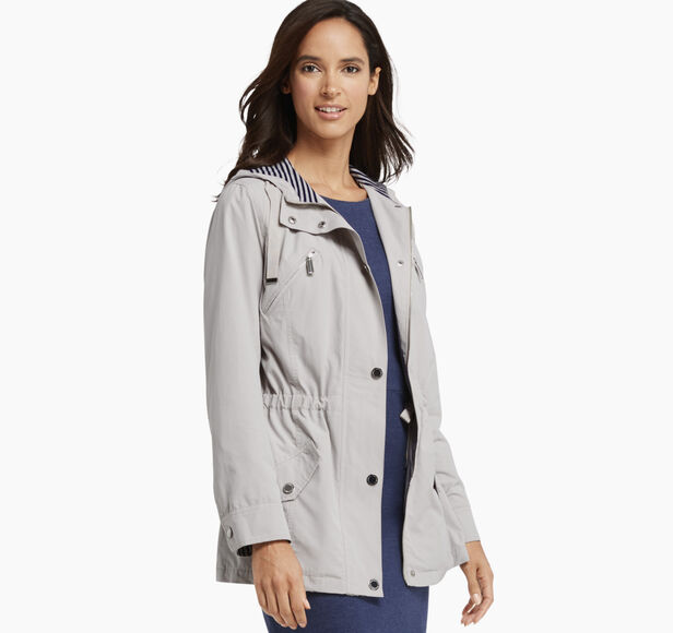 Anorak with Striped-Knit Lining