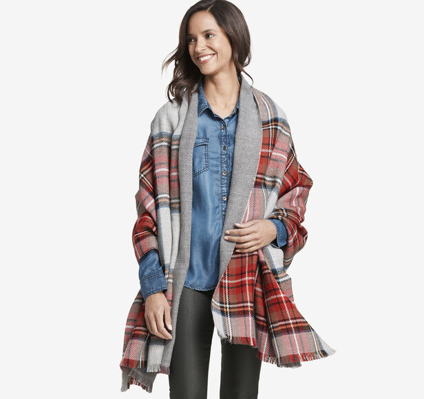 Double-Faced Plaid Blanket Wrap