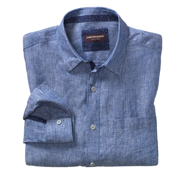 Dot-Print Washed Linen Shirt