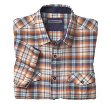 Crinkle Casual Plaid Camp Shirt