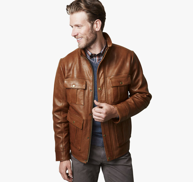 Leather Four-Pocket Jacket