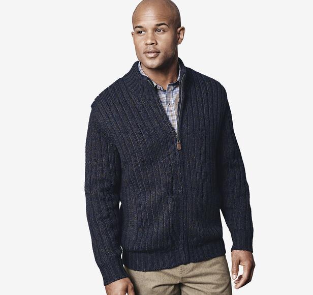Fur-Lined Full-Zip Sweater