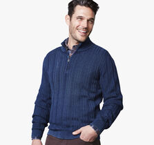 Indigo Quarter-Zip Sweater