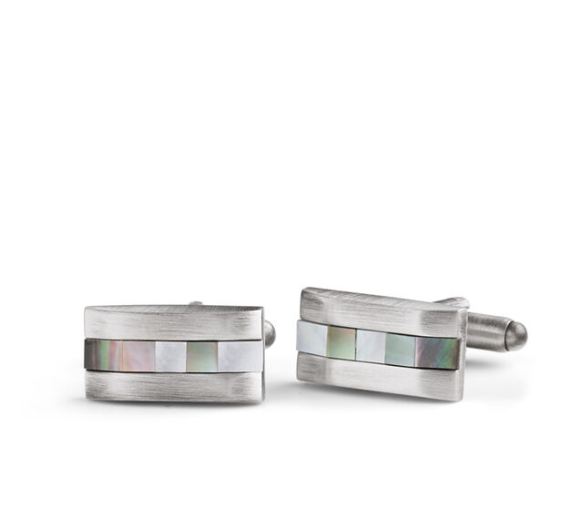 Mother-of-Pearl Burnished Rectangle Cufflinks