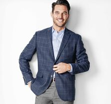 Lightweight Wool Windowpane Blazer