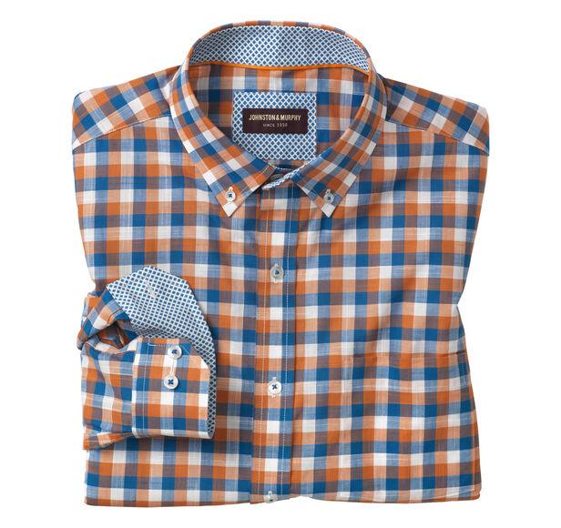 Square Check Button-Down Collar Slub Shirt