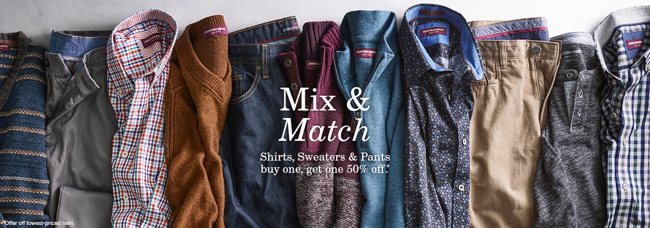 Men's Shirts, Sweaters, Pants & Shorts: Buy One - Get One 50% Off