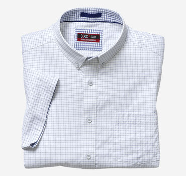 XC4 Windowpane Short-Sleeve Stretch Shirt