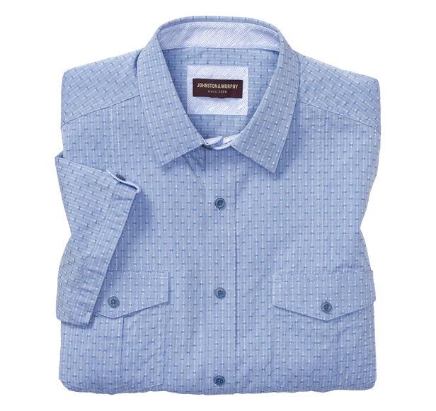 Tonal Accent Cross Double-Pocket Short-Sleeve Shirt