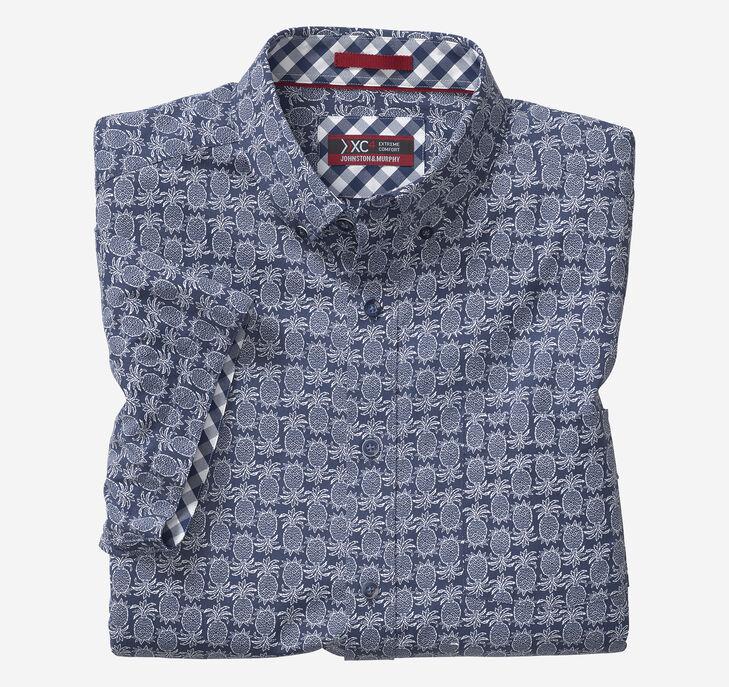 XC4 Pineapple Print Short-Sleeve Stretch Shirt