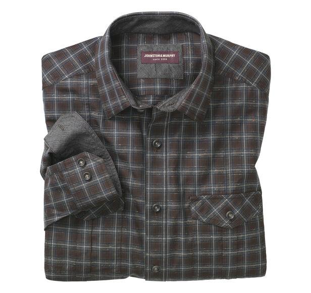 Double-Pocket Heather Denim Plaid Shirt