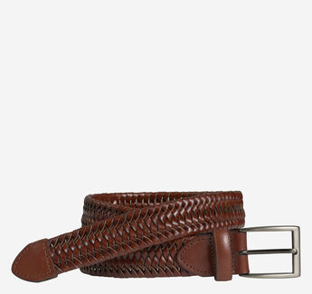 Stretch Leather Braided Belt