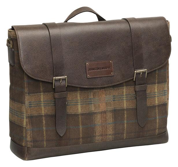 Suede Leather Flapover Briefcase