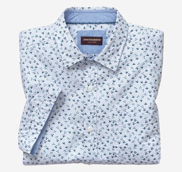 Seersucker Short-Sleeve Turtle Print Shirt