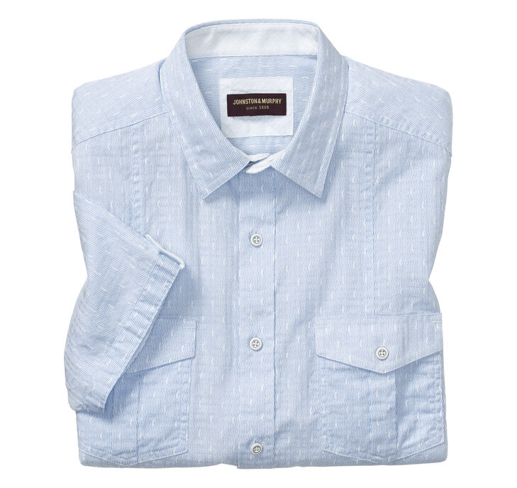 Mini Dot Wave Double-Pocket Short-Sleeve Shirt