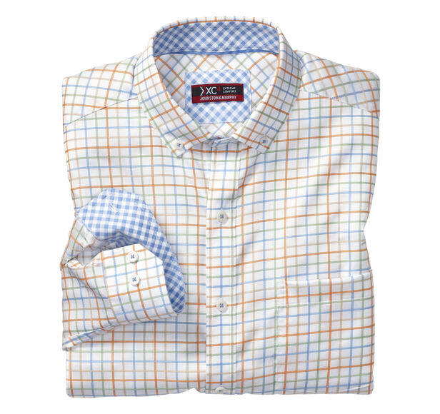 XC4® Colorful Windowpane Button-Collar Shirt