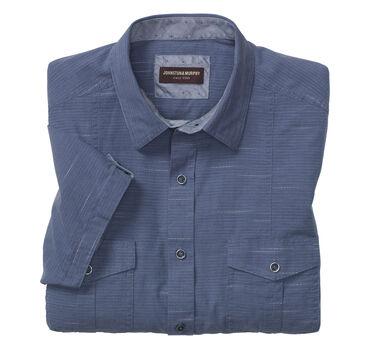 Twisted Rope Horizontal Stripe Double-Pocket Short-Sleeve Shirt