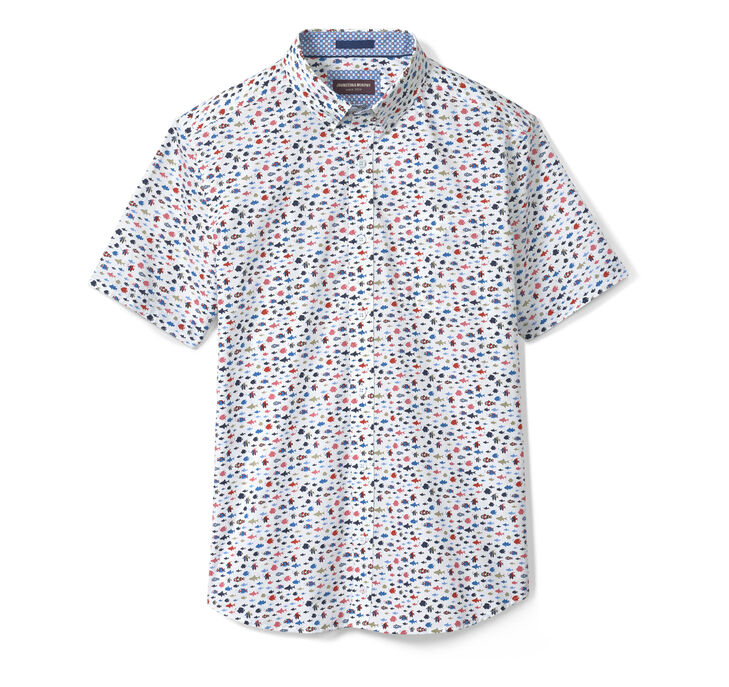 Printed Cotton Short-Sleeve Shirt