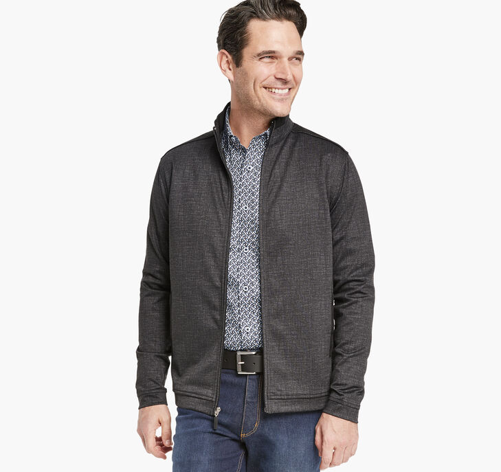 Crosshatch-Print Knit Full Zip
