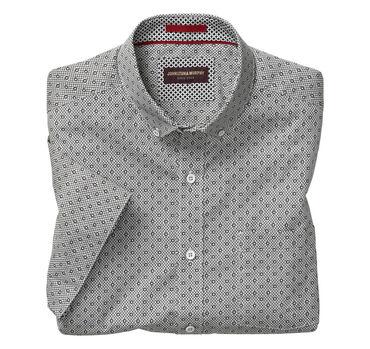 Flower Diamond Print Short-Sleeve Shirt