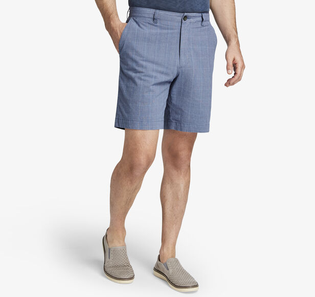 Garment-Washed Plaid Shorts