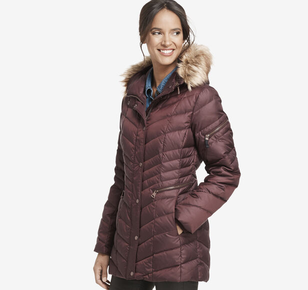 Hooded Quilted-Down Coat