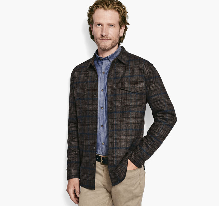 Plaid Knit Shirt Jacket