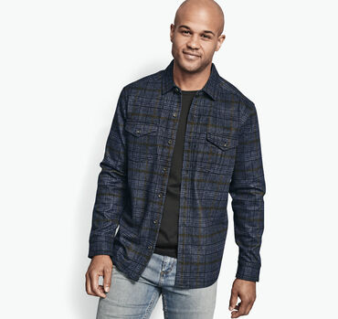 Plaid Knit Shirt Jacket