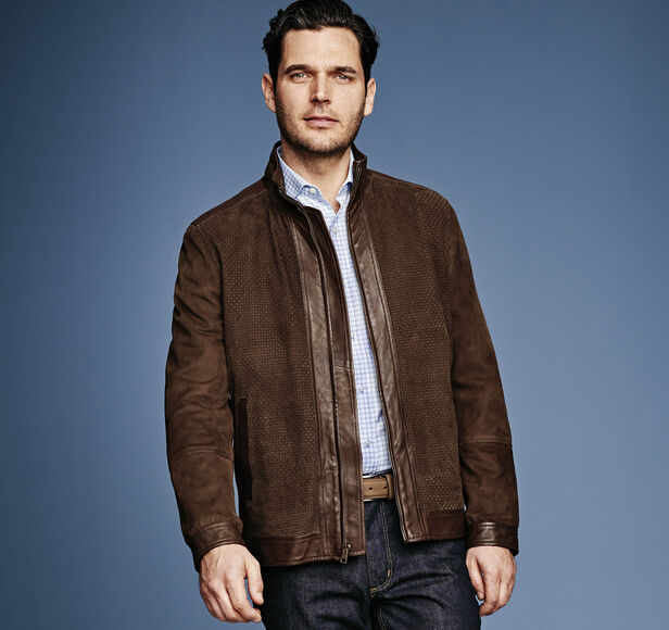 Italian Basketweave Leather & Suede Jacket
