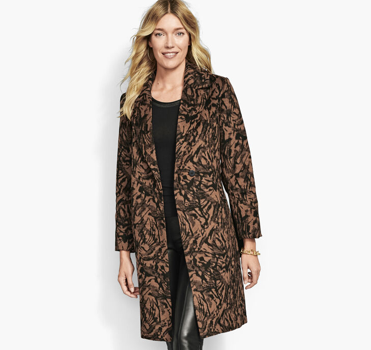 Marble-Print Coat with Faux-Fur Collar