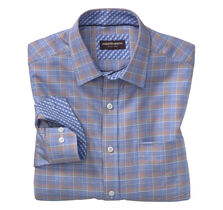 Zigzag-Ground Windowpane Point- Collar Shirt