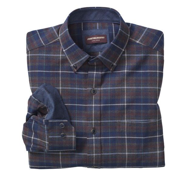 Large Plaid Brushed-Cotton Button-Collar Shirt
