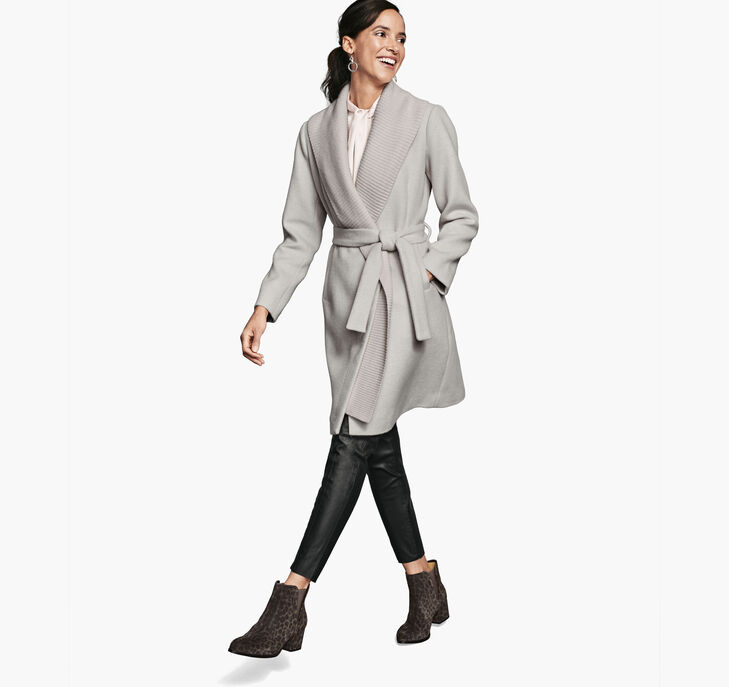 Wool Coat with Removable Knit-Collar