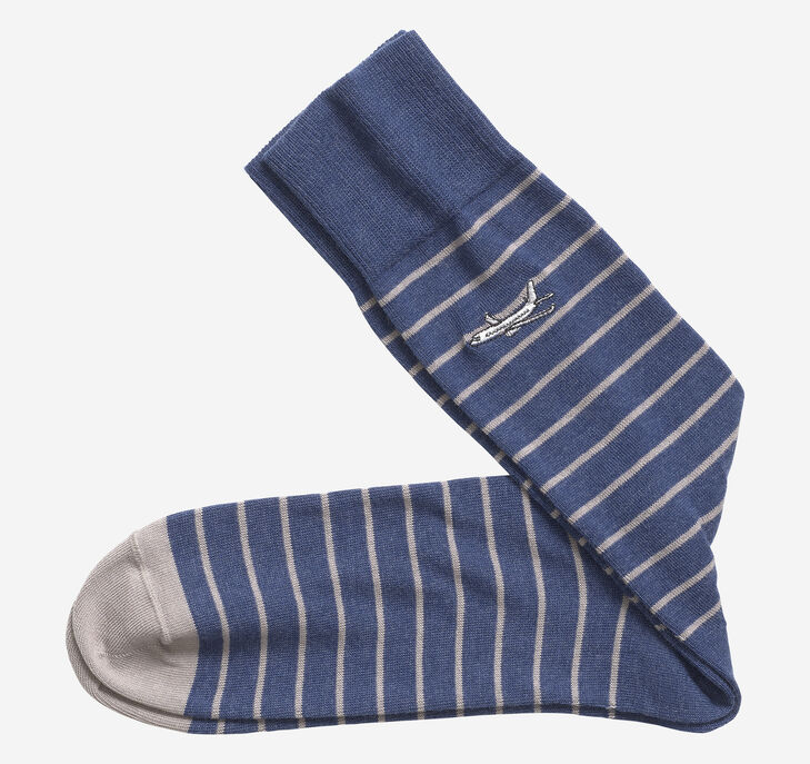 Embroidered Airplane Stripe Socks