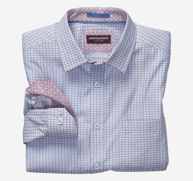 Pindot Grid Print Shirt