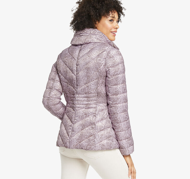 Packable Snake-Print Quilted Jacket