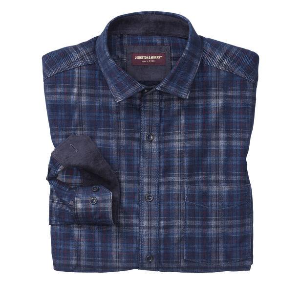 Printed Plaid Corduroy Shirt