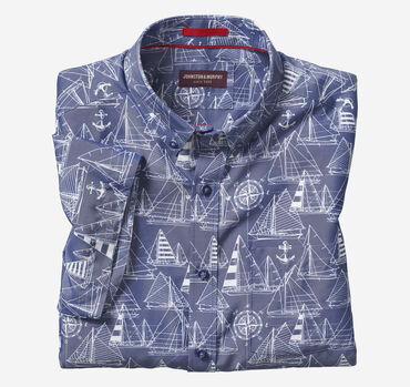 Silky Short-Sleeve Print Shirt