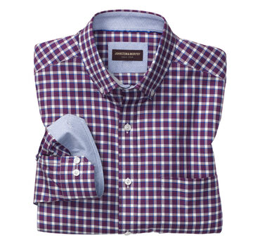 Contrast Edge Check Button-Down Collar Shirt