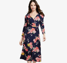 Floral Knit Faux-Wrap Dress