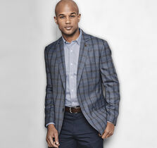 Windowpane Plaid Wool Blazer
