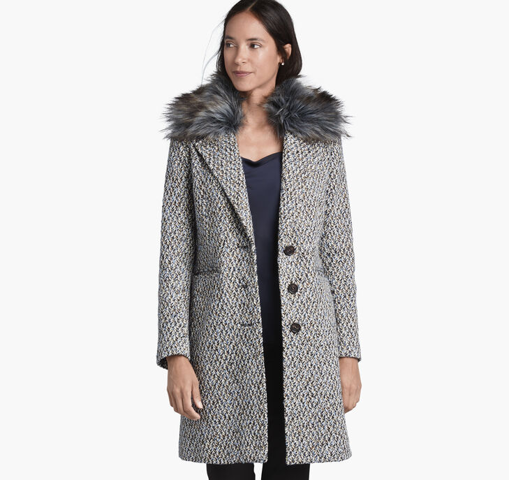 Tweed Coat with Faux-Fur Collar