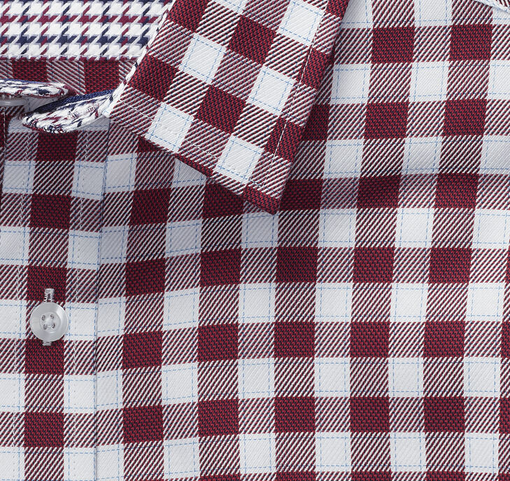 European Multi-Texture Gingham Shirt